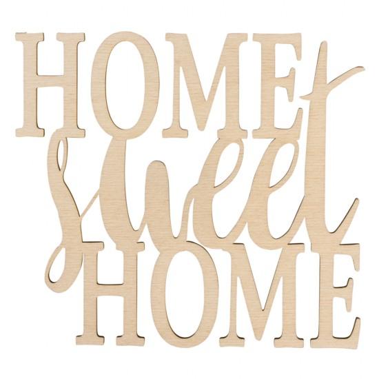 "Wood font ""Home sweet Home"" FSC100%, natural, 18x16.2x0.4cm, tab-bag 1pc"