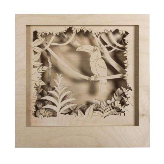 Wood.const.kit,3D-motif Toucan, FSC 100%, natural, 24x24x6.5cm, 11-part, box 1Set